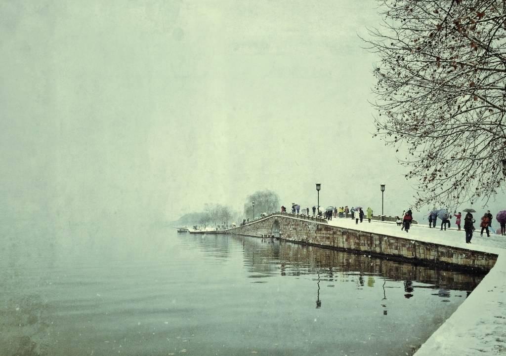 杭州西湖断桥残雪美景